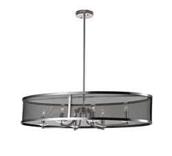 """36"""" 6 Light Chandelier with Satin Nickle Finish"""