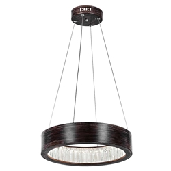 """16"""" LED Chandelier with Wood Grain Brown Finish"""