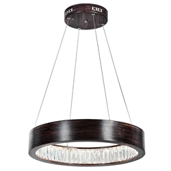 """20"""" LED Chandelier with Wood Grain Brown Finish"""