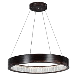 """26"""" LED Chandelier with Wood Grain Brown Finish"""
