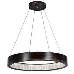 """32"""" LED Chandelier with Wood Grain Brown Finish"""