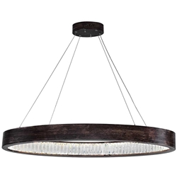 """42"""" LED Chandelier with Wood Grain Brown Finish"""