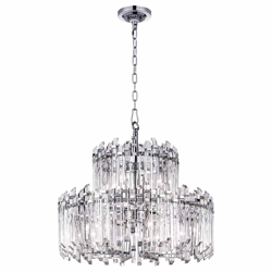 "28"" 12 Light Chandelier with Chrome Finish"