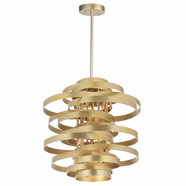 """Picture of 18"""" 6 Light Chandelier with Gold Leaf Finish"""