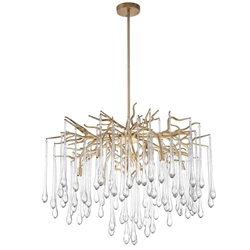 "26"" 6 Light Chandelier with Gold Leaf Finish"
