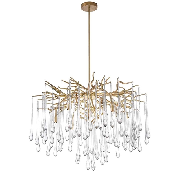 """Picture of 26"""" 6 Light Chandelier with Gold Leaf Finish"""