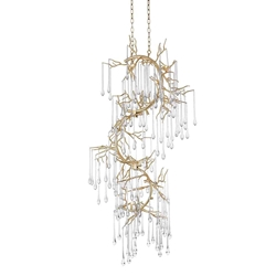 "60"" 12 Light Chandelier with Gold Leaf Finish"