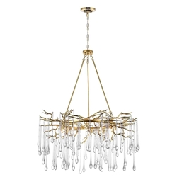 "43"" 12 Light Chandelier with Gold Leaf Finish"