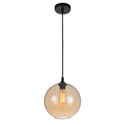 "10"" 1 Light Down Mini Pendant with Transparent Amber finish"