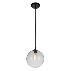 "10"" 1 Light Down Mini Pendant with Transparent finish"