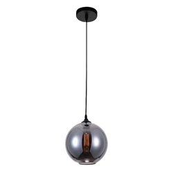 "10"" 1 Light Down Mini Pendant with Transparent Smoke finish"