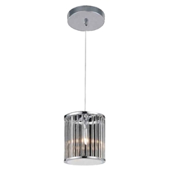 "10"" 1 Light Drum Shade Mini Pendant with Chrome finish"