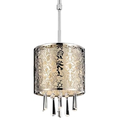 "10"" 1 Light Drum Shade Mini Pendant with Satin Nickel finish"
