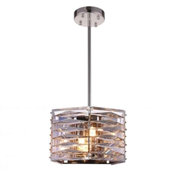 "10"" 3 Light Down Mini Chandelier with Bright Nickel finish"