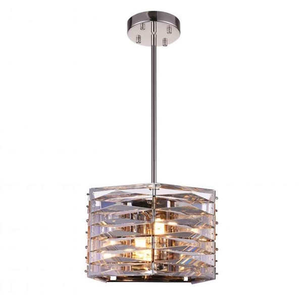 "Picture of 10"" 3 Light Down Mini Chandelier with Bright Nickel finish"