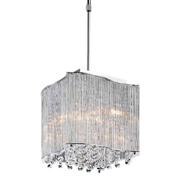 """Picture of 10"""" 3 Light Drum Shade Mini Pendant with Chrome finish"""