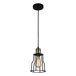 "10"" 1 Light Down Mini Pendant with Black finish"