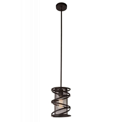 "10"" 1 Light Down Mini Pendant with Brown finish"