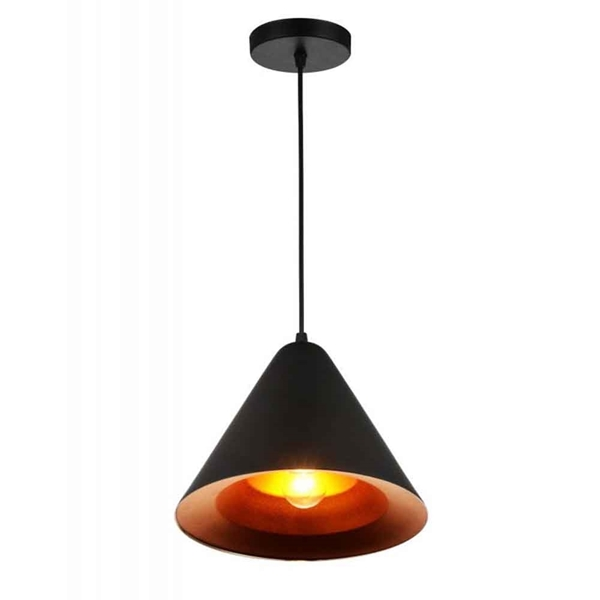 "Picture of 10"" 1 Light Down Pendant with Black & Gold finish"