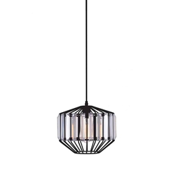 "10"" 1 Light Down Pendant with Black finish"