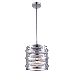 "10"" 1 Light Drum Shade Mini Chandelier with Chrome finish"