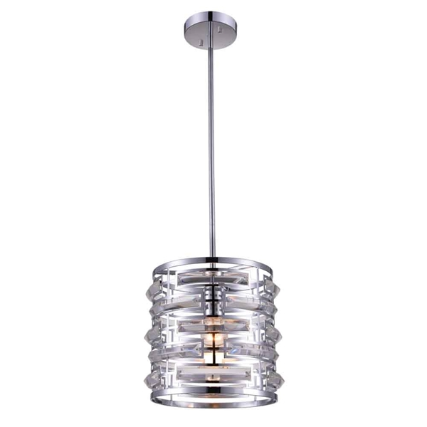 "Picture of 10"" 1 Light Drum Shade Mini Chandelier with Chrome finish"