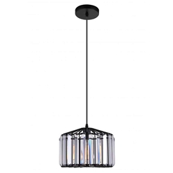 "10"" 1 Light Drum Shade Pendant with Black finish"