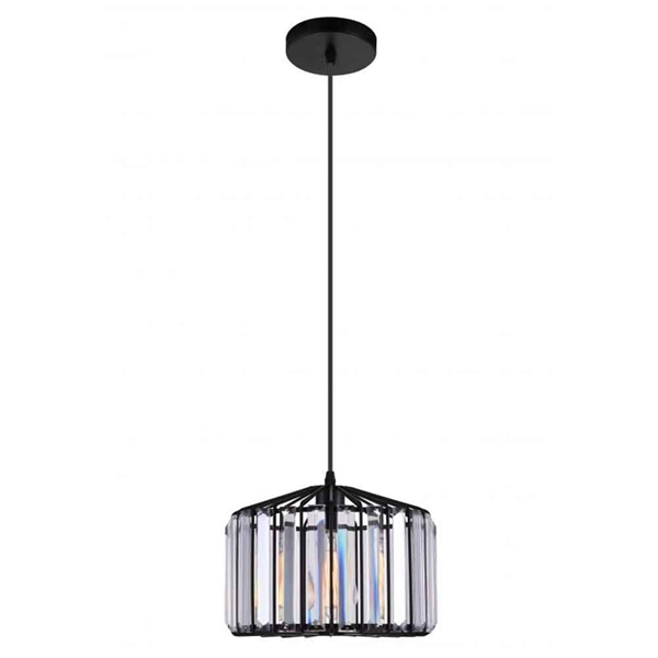 "Picture of 10"" 1 Light Drum Shade Pendant with Black finish"