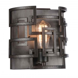 "10"" 1 Light Wall Sconce with Brown finish"