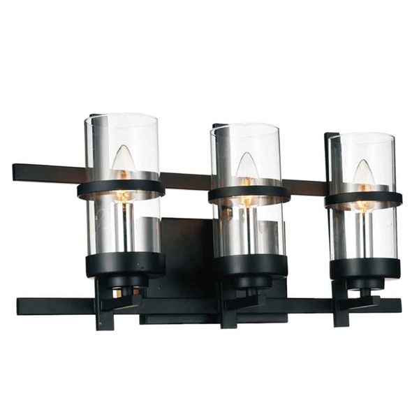 "Picture of 10"" 3 Light Wall Sconce with Black finish"