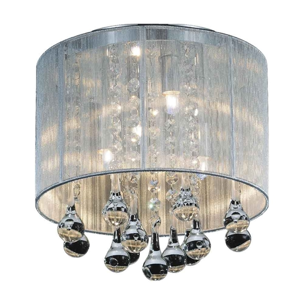 """Picture of 10"""" 4 Light Drum Shade Flush Mount with Chrome finish"""