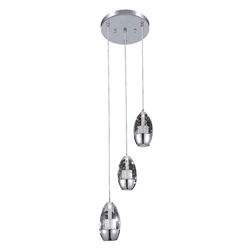 "10"" Bolle Modern Chrome Coated Cascading Crystal Elliptical Mini Pendants Round Base 3 Lights"