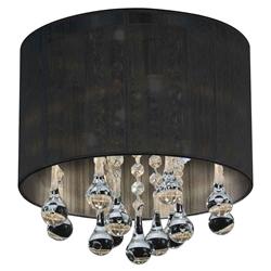 "10"" Gocce Modern Crystal Round Flush Mount Ceiling Lamp Polished Chrome Black String Shade 4 Lights"
