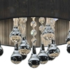 """Picture of 10"""" Gocce Modern Crystal Round Flush Mount Ceiling Lamp Polished Chrome Black String Shade 4 Lights"""