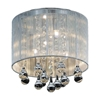 "Picture of 10"" Gocce Modern Crystal Round Flush Mount Ceiling Lamp Polished Chrome Silver String Shade 4 Lights"