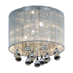 """10"""" Gocce Modern Crystal Round Flush Mount Ceiling Lamp Polished Chrome Silver String Shade 4 Lights"""
