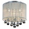 "Picture of 10"" Gocce Modern Crystal Round Flush Mount Ceiling Lamp Polished Chrome White String Shade 4 Lights"