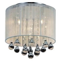 "10"" Gocce Modern Crystal Round Flush Mount Ceiling Lamp Polished Chrome White String Shade 4 Lights"