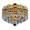 """Picture of 10"""" Primo Transitional Small Round Crystal Flush Mount Ceiling Chandelier Gold Plated 2 Lights"""