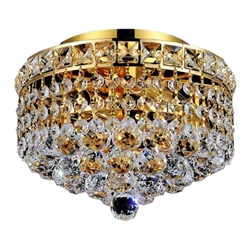"10"" Primo Transitional Small Round Crystal Flush Mount Ceiling Chandelier Gold Plated 2 Lights"