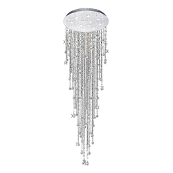 "106"" Raindrops Modern Foyer Crystal Round Chandelier Mirror Stainless Steel Base 12 Lights"