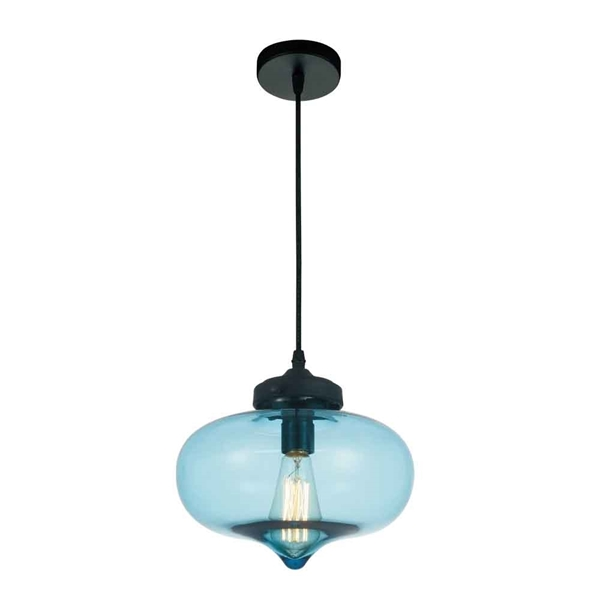 "Picture of 11"" 1 Light Down Mini Pendant with Transparent Blue finish"