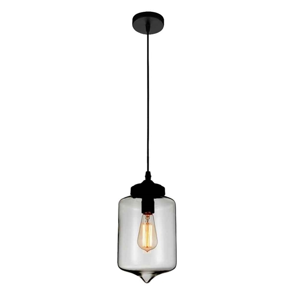 "Picture of 11"" 1 Light Down Mini Pendant with Transparent Smoke finish"