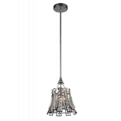 "11"" 1 Light Drum Shade Chandelier with Antique Forged Silver finish"