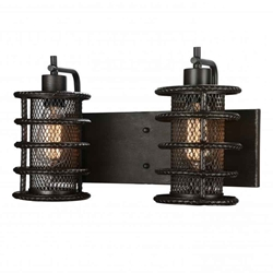 "11"" 2 Light Wall Sconce with Brown finish"