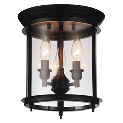 "11"" 3 Light Cage Flush Mount with Oil Rubbed Bronze finish"