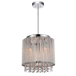 "11"" 3 Light Drum Shade Mini Pendant with Chrome finish"