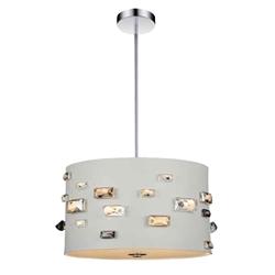 "11"" 3 Light Drum Shade Mini Pendant with White finish"