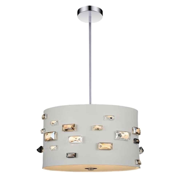 "Picture of 11"" 3 Light Drum Shade Mini Pendant with White finish"
