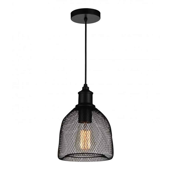 "Picture of 11"" Drea Industrial Mini Pendant Black 1 Light"